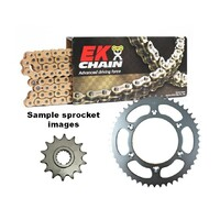 EK gold o-ring chain & steel sprocket kit for 04 - 19 Suzuki DR200SE 12/47