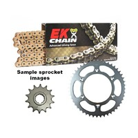 EK gold o-ring chain & steel sprocket kit for 00 - 18 Suzuki VL250 15/43