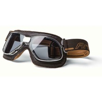 ARIETE MOTORCYCLE VINTAGE ITALIAN ROAD USE GOGGLE - BROWN LEATHER