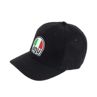AGV Premium Snapback Snap Back Curved Peak Cap, Black / Red