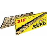 DID 525 VX3 X-ring X ring Motorbike Chain - 112 links Gold/Black