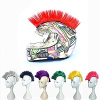 Adhesive Helmet Mohawk Motorbike Motorcycle - Pink black blue green red yellow