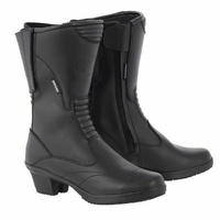 Oxford ladies Valkyie Motorcycle Motorbike Leather Boots - Black